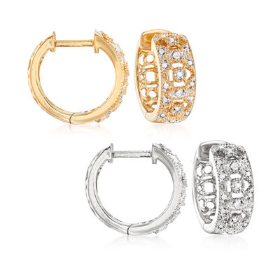 .10 ct. t.w. Diamond Jewelry Set: Two Pairs of Hoop Earrings in Sterling Silver and 18kt Gold Over Sterling, , default