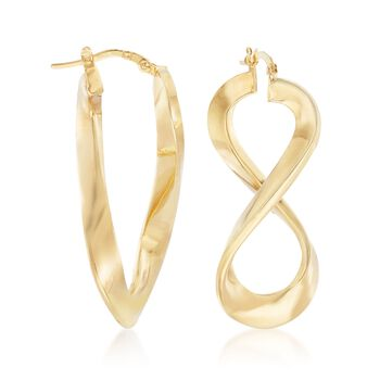 "Italian 14kt Yellow Gold Figure-Eight Hoop Earrings. 1 1/2"", , default"