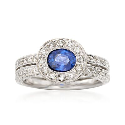 C. 2000 Vintage .90 Carat Sapphire and 1.00 ct. t.w. Diamonds in 18kt White Gold, , default