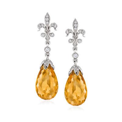 C. 1990 Vintage 4.30 ct. t.w. Citrine and .35 ct. t.w. Diamond Fleur-De-Lis Drop Earrings in 18kt White Gold