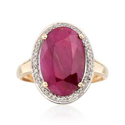 6.30 Carat Ruby and .14 ct. t.w. Diamond Ring in 14kt Yellow Gold, , default