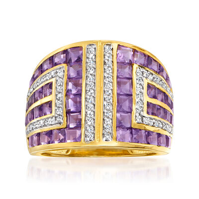 4.90 ct. t.w. Amethyst and .50 ct. t.w. White Zircon Geometric Ring in 18kt Gold Over Sterling