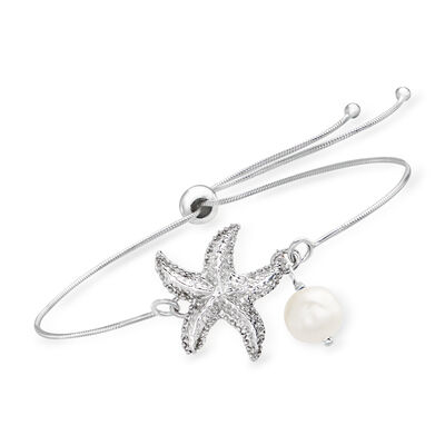 7.5-8mm Cultured Pearl Starfish Bolo Bracelet in Sterling Silver