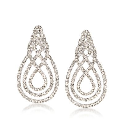 1.00 ct. t.w. Diamond Swirl Drop Earrings in Sterling Silver