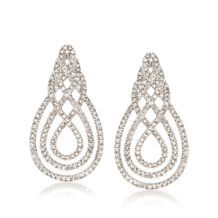 1.00 ct. t.w. Diamond Swirl Drop Earrings in Sterling Silver, , default