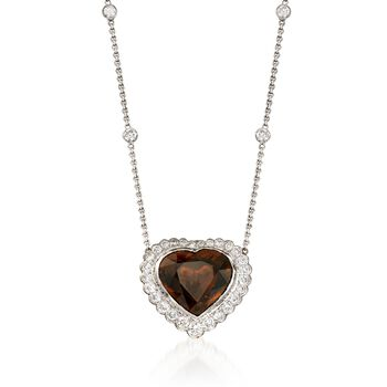 """C. 1990 Vintage 6.15 Carat Brown Tourmaline and 1.50 ct. t.w. Diamond Heart Necklace in 14kt and 18kt Gold. 17"""", , default"""