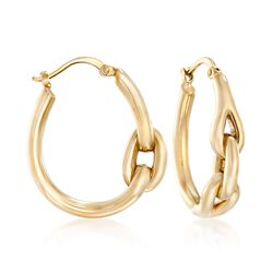 "14kt Yellow Gold Polished Hoop Earrings. 1"", , default"