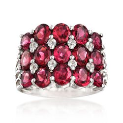 4.60 ct. t.w. Rhodolite and .30 ct. t.w. White Topaz Ring in Sterling Silver, , default