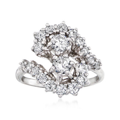 C. 1970 Vintage 1.50 ct. t.w. Diamond Cluster Ring in 14kt White Gold