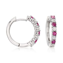".50 ct. t.w. Ruby and .35 ct. t.w. Diamond Hoop Earrings in 14kt White Gold. 5/8"", , default"