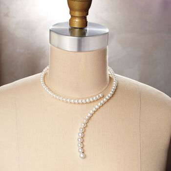 """6-8mm Cultured Pearl Coiled Choker Necklace. 14"""", , default"""
