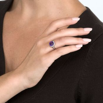 2.05 Carat Amethyst and 10 ct. t.w. Diamond Ring in 14kt White Gold, , default