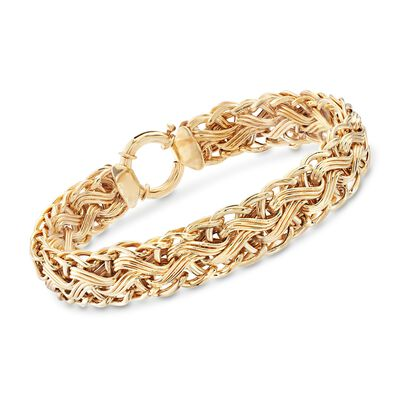 14kt Yellow Gold Over Sterling Silver Woven-Link Bracelet , , default