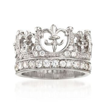 .90 ct. t.w. CZ Crown Ring in Sterling Silver, , default