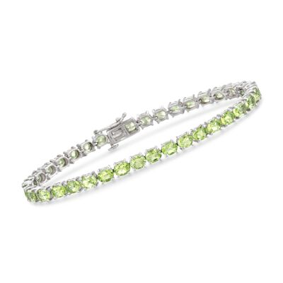 12.00 ct. t.w. Peridot Tennis Bracelet in Sterling Silver, , default