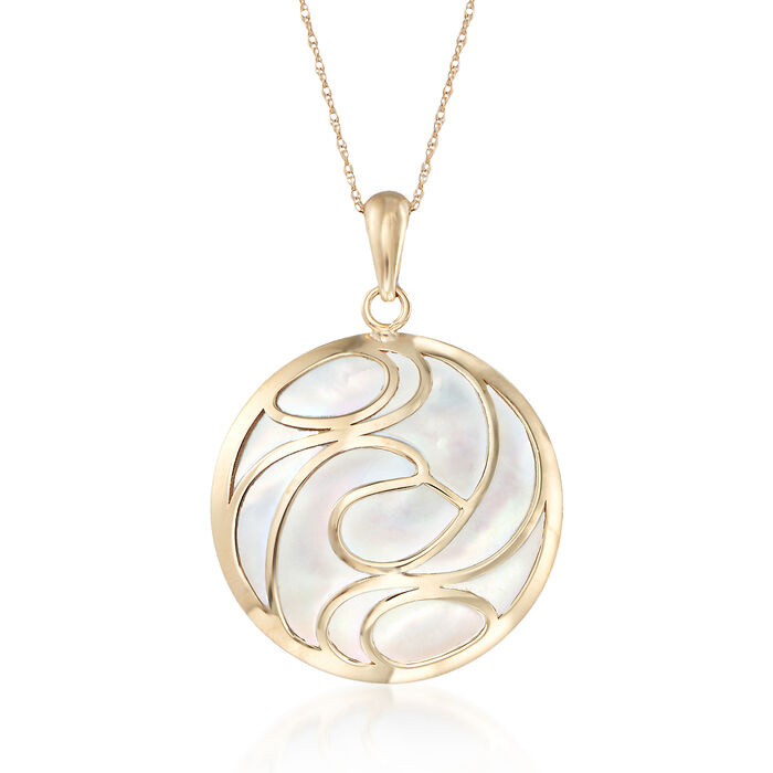 Mother-Of-Pearl Swirl Pendant Necklace in 14kt Yellow Gold, , default