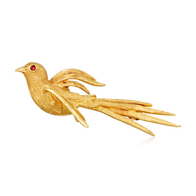 C. 1970 Vintage Ruby-Accented 14kt Yellow Gold Bird Pin