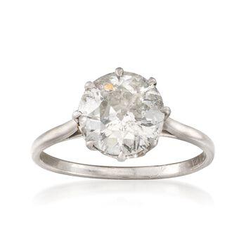 C. 1980 Vintage 2.52 Carat Diamond Solitaire Ring in Platinum. Size 6.75, , default