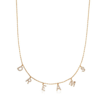 ".33 ct. t.w. CZ ""Dreams"" Station Necklace in 18kt Yellow Gold Over Sterling Silver, , default"