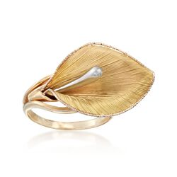 Italian 14kt Two-Tone Gold Calla Lily Ring, , default