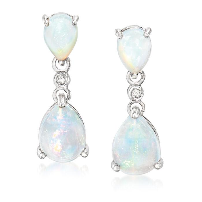Opal Double Drop Earrings with Diamond Accents in Sterling Silver. Drop Earrings