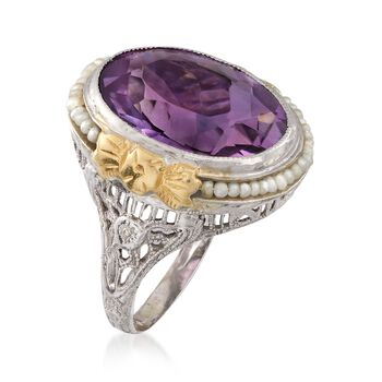 C. 1950 Vintage 7.20 Carat Amethyst and Cultured Seed Pearl Ring in 14kt Two-Tone Gold. Size 4.5, , default