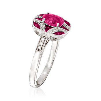 1.40 ct. t.w. Ruby and .13 ct. t.w. Diamond Ring in 14kt White Gold. Size 7, , default