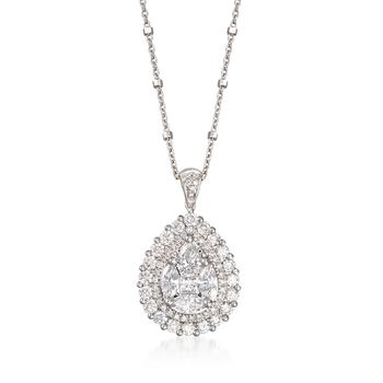 """1.97 ct. t.w. Diamond Pear-Shaped Pendant Necklace in 14kt White Gold. 18"""", , default"""