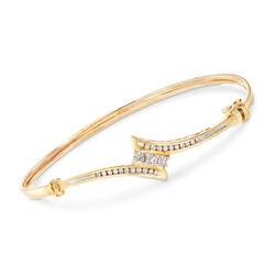 C. 1990 Vintage .55 ct. t.w. Diamond Bypass Bangle Bracelet in 14kt Yellow Gold, , default