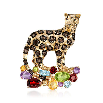 3.80 ct. t.w. Multi-Stone Panther Pin Pendant in 18kt Gold Over Sterling, , default