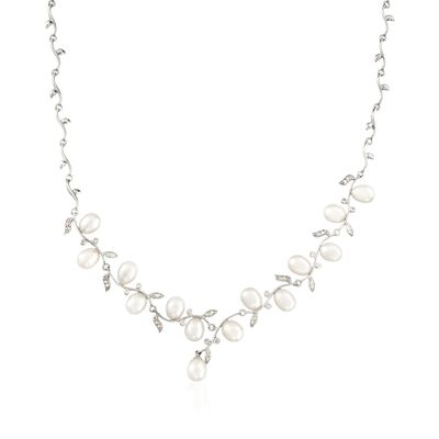 6.5-7mm Cultured Pearl and .40 ct. t.w. CZ Vine Necklace in Sterling Silver, , default