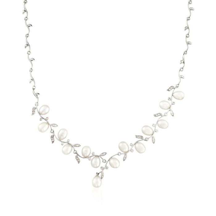 """6.5-7mm Cultured Pearl and .40 ct. t.w. CZ Vine Necklace in Sterling Silver. 18"""", , default"""