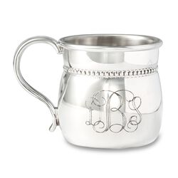 Reed & Barton Pewter Personalized Beaded Bulged Baby Cup, , default