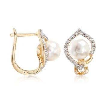 7-7.5mm Cultured Pearl and .16 ct. t.w. Diamond Earrings in 14kt Yellow Gold , , default