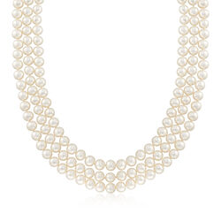 """C. 1990 Vintage 7mm Cultured Pearl Three-Strand Necklace With 14kt Yellow Gold. 17.5"""", , default"""