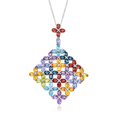 10.80 ct. t.w. Multi-Gemstone Rainbow Pendant Necklace in Sterling Silver, , default