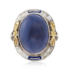 C. 1950 Vintage Blue Chalcedony Floral Ring With Blue and White Enamel in 14kt White Gold, , default