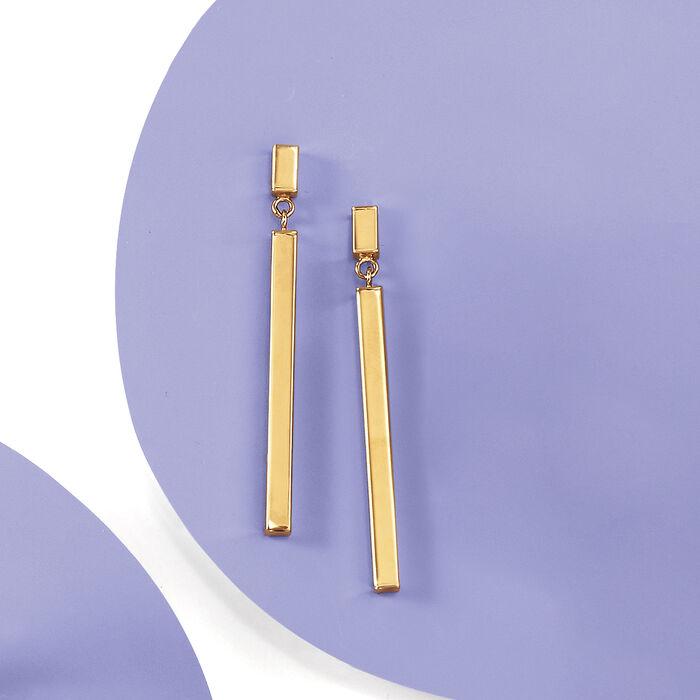 Italian 18kt Yellow Gold Linear Drop Earrings