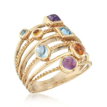 1.31 ct. t.w. Multi-Stone Ring in 14kt Gold Over Sterling. Size 5, , default