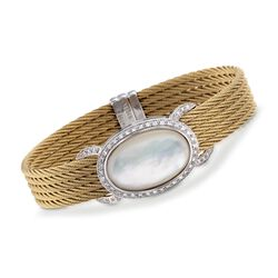 "ALOR ""Classique"" Mother-Of-Pearl and .44 ct. t.w. Diamond Golden Cable Bracelet. 7"", , default"