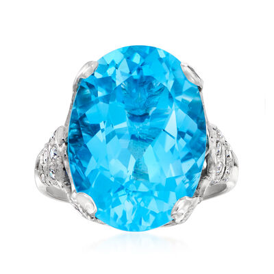 C. 1990 Vintage 14.55 Carat London Blue Topaz and .90 ct. t.w. Diamond Ring in Platinum