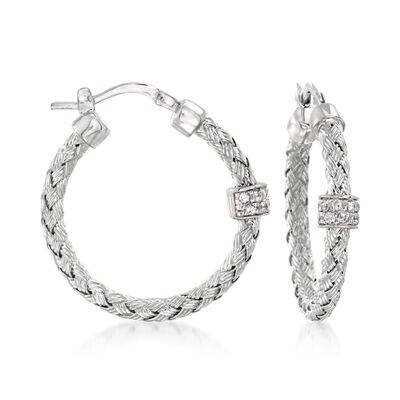"Charles Garnier ""Torino"" .20 ct. t.w. CZ Small Hoop Earrings in Sterling Silver"