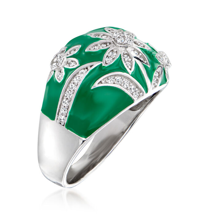 .40 ct. t.w. White Topaz and Green Enamel Flower Ring in Sterling Silver