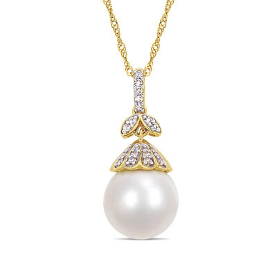 10-11mm Cultured South Sea Pearl Floral Drop Necklace with Diamond Accents in 14kt Yellow Gold