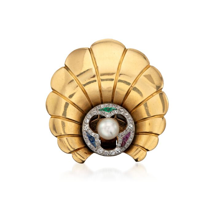 C. 1940 Vintage Tiffany Jewelry Cultured Pearl and Diamond Clip Pin with Multi-Stones in 14kt Yellow Gold