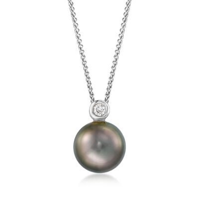 9-10mm Black Cultured Tahitian Pearl Pendant Necklace with Diamond Accent in 18kt White Gold, , default