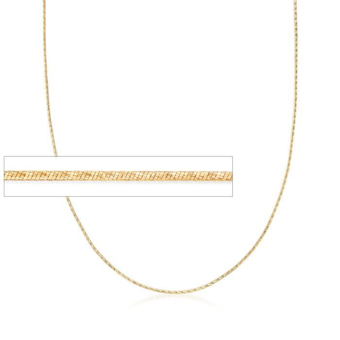 Italian .8mm 18kt Yellow Gold Diamond-Cut Snake Chain Necklace, , default