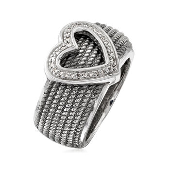 .10 ct. t.w. Diamond Heart Ring in Sterling Silver with Black Rhodium