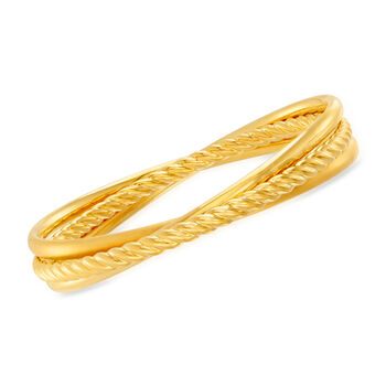 Italian Andiamo 14kt Yellow Gold Interlocking Bangle Bracelets