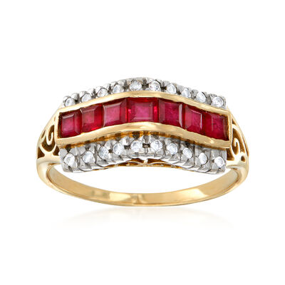 C. 1980 Vintage 1.05 ct. t.w. Ruby and .10 ct. t.w. Diamond Ring in 14kt Yellow Gold, , default